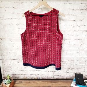 The Limited Plaid Print Double Layer Tank